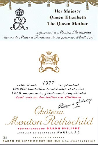 CHÂTEAU MOUTON ROTHSCHILD 1977, vendimia 1977. 1er Cru Classé de Pauillac.