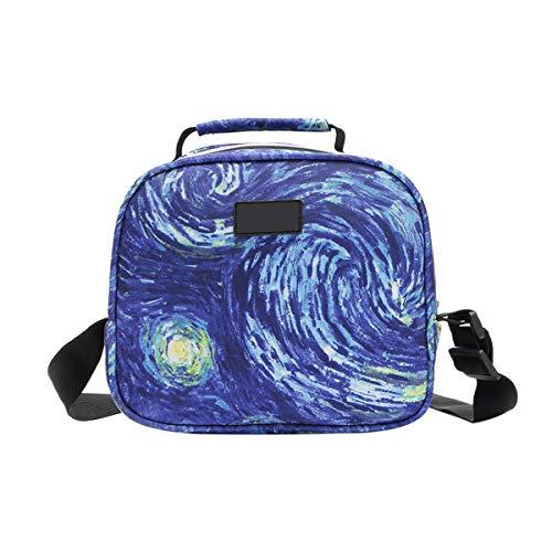 Janolia 6L Isolierte Lunchtasche, 600D Oxford-Gewebe, Bento Box Tasche mit Schultergurt, für Schule, Büro, Picknick, wasserdicht, leicht zu reinigen, Textil, blau, 8.6x5.9x7.5inch