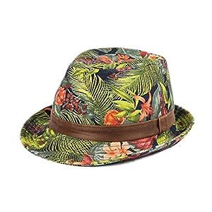 WITHMOONS-Sombrero-Fedora-Porkpie-Zookeeper-Amazon-Tropical-Forest-Pattern-Fedora-Hat-LD3071-Blue-XL