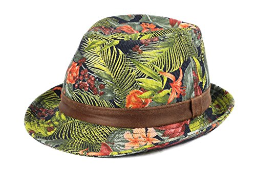 WITHMOONS-Sombrero-Fedora-Porkpie-Zookeeper-Amazon-Tropical-Forest-Pattern-Fedora-Hat-LD3071-Blue-XL