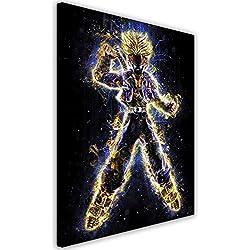Feeby. Cuadro en lienzo - 1 Parte - 40x50 cm, Imagen impresión Pintura decoración Cuadros de una pieza, Trunks - Barrett Biggers, DRAGON BALL Z, ANIME, AZUL