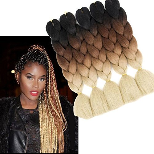 6pc/lot 61 cm sintetico ombre kanekalon jumbo braiding hair extension 100 g ad alta temperatura sintetiche africano box trecce uncinetto twist intrecciato extension