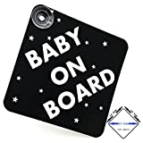 acepoprt BABY ON BOARD car sign with suction cups (matt black/gloss white)