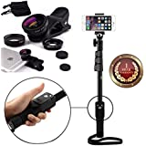 Elevea YT-1288 Bluetooth Wirelesss Selfie Stick With Universal 3 In 1 Mobile Camera Lens With Wide, Macro, Fish-Eye-assorted Colour (1 Year Warranty)