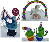 3D Geburtstagskarten - 3 Stück (Motive: Einhorn & Kaktus & Robbe) - Pop-Up-Karten - handgefertigt - inclusive Umschlag und Schutzhülle - Gruß-Karte, Glückwunsch-Karte, Geschenk-Karte