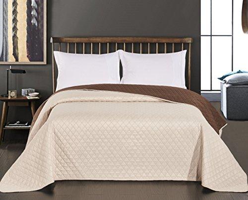 DecoKing 29763 Tagesdecke 220 x 240 cm Creme braun Schoko Schokolade Bettüberwurf zweiseitig pflegeleicht Axel