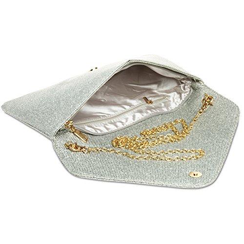 CASPAR TA357 Donna Pochette a Busta Grande Brillante Argento