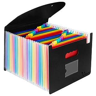 Uquelic Cartelle Documenti Espandibile A4 Impermeabile File Organzier in Plastica con 24 Tasche Cartelline Portadocumenti con Coperchio