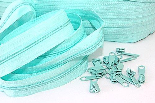 Reißverschlüsse endlos 3m mit 15 Zipper in türkis-hell. 3mm