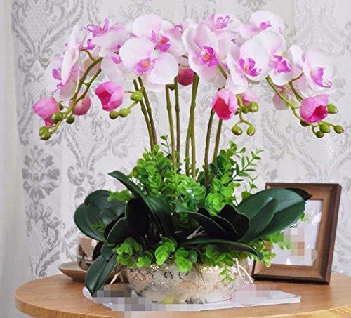 DSAAA Flores falsas Moderna y minimalista y macetas con plantas de orquídeas de flores artificiales para la decoración del hogar Rosa Set