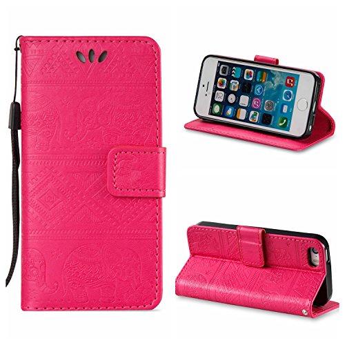 Voguecase® für Apple iPhone SE 5 5S 5G hülle,(Rose/Turm 01) Kunstleder Tasche PU Schutzhülle Tasche Leder Brieftasche Hülle Case Cover + Gratis Universal Eingabestift Elefanten/Rosa