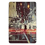 ERCGY Bathroom Bath rug Kitchen Floor Mat Carpet,Modern,Urban City Streets at Gloomy Night with People Downtown Dramatic Illustration,Red Blue Grey,Flannel Microfiber Non-Slip Soft Absorbent