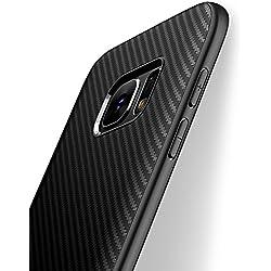 Coque Samsung Galaxy s7, J Jecent [Fibre de Carbone] Silicone TPU Souple Bumper Case Cover de Protection Premium Non Slip Surface Housse Etui [Anti-Choc et Anti-Rayures] 5.1 pouces - Noir