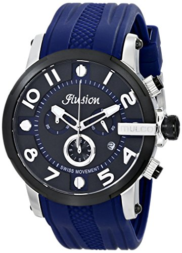 Mulco Women's 44mm Blue Silicone Band Steel Case Swiss Quartz Black Dial Chronograph Watch MW312239045