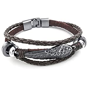 Konov Jewellery Mens Womens Genuine Leather Bracelet, Angel Wing Braided Cuff Bangle, Brown Silver (with Gift Bag)