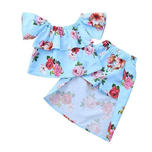 ung Set, Baby Body Kleinkind Neugeborenes Baby Mädchen Kinder Kurzarm Blumen Print Wort Schulter Rüschen Top + Shorts Rock Zweiteiler Sätze 2pcs (Blau, 5T) ()