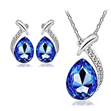#9: Nakabh Valentines Collection Elegant Blue Austrian Crystal TearDrop Pendant and Earrings Combo For Girls and Women