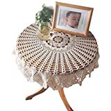 Yazi rund Tischdecken Hand gehäkelter Blume Tisch Cover Hollow Design für Küche Leinen Decor Beige 90cm
