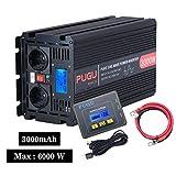 ALTERDJ 3000W Wechselrichter Modifizierte Sinuswelle - Auto Wechselrichter mit LCD DC 12v auf AC 230v Umwandler - Inverter Konverter mit 2 EU Steckdose und USB-Port - Spitzenleistung 6000 Watt