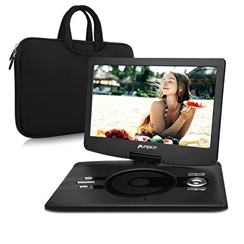 Pumpkin 12,5 Pouce Lecteur DVD / CD / MP3 / Vidéo Portable HD Résolution Ecran 1366 * 768 Batterie Rechargeable avec 5 Heures d'autonomie Soutient USB / SD, entrée AV IN / OUT, Sac Inclus