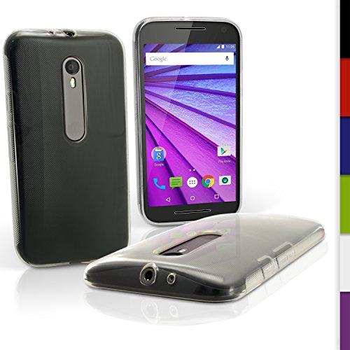 igadgitz Transparente Claro Lustroso Funda Carcasa Gel TPU para Motorola Moto G 3 ª Generación 2015 XT1540 Case Cover + Protector Pantalla