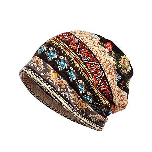 iHENGH Bequem Lässig Mode Unisex Print Hut Ruffle Cancer Hat Mütze Schal Kragen Turban Head Wrap Cap