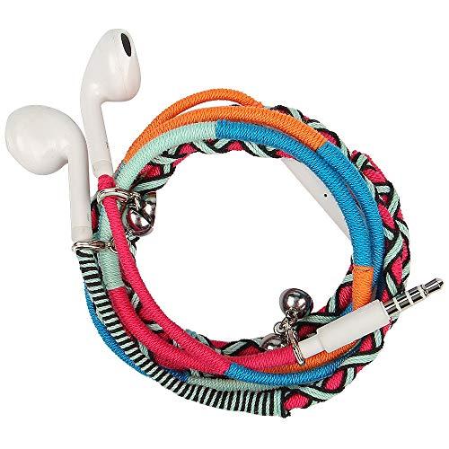 Auricolari cuffiette urizons auricolare in-ear stereo con microfono remoto adatto per portatili e dispositivi android-tessuto artigianale intrecciato tribe thread avvolto stile braccialetto