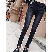 TT&NIUZAIKU Mujer Simple Tiro Medio Microelástico Vaqueros Pantalones, Un Color Poliéster Primavera, Black, s