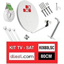 Diesl.com - Kit Parabólica 80cm + LNB + Soporte + 25 Metros de cable + Tacos a pared + Conectores + 10x Bridas + 25 Grapas