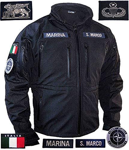 Gen.con. giacca militare san marco, giubbotto tecnico nero marina