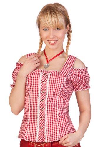 Trachten Bluse - PILLA - rot, grün, Größe 52