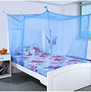 Shahji Creation Double Bed Mosquito Net With Cotton Brodar 6X6.5 Feet, Blue