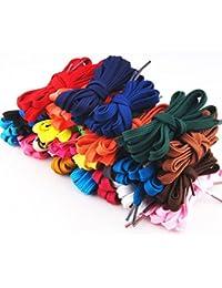 PIXNOR – 12 pares de cordones planos de repuesto para zapatillas deportivas, botas, tenis y patines (colores…
