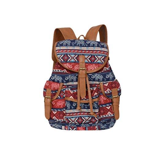 BZLine® Frauen Neue Doppel-Schulter Print Canvas Rucksack Schultasche Travel Rucksack C
