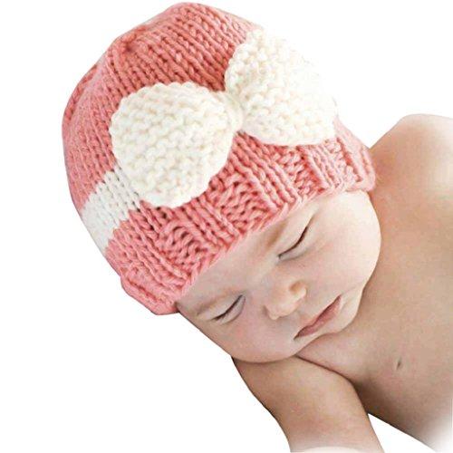 KanLin Newborn Baby Infant Toddler Knitting Wool Crochet Hat (Pink)
