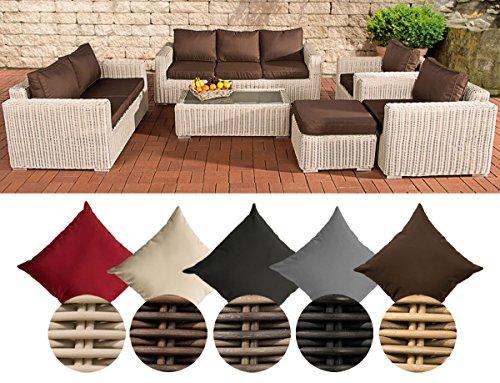 CLP Poly-Rattan Loungemöbel Set MADEIRA XL, 3er Sofa + 2er Sofa + 2x Sessel + Hocker + Tisch 110 x 60 cm Bezugfarbe: Terrabraun, Rattan Farbe perlweiß