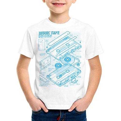 style3 Tape Cianotipo Camiseta para Niños T-Shirt DJ Turntable 3D MC, Color:Blanco;Talla:104