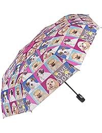 Paraguas de mujer gatos/perros, plegable y ligero – Paraguas mini Perletti – Paraguas de mujer compacto, de viaje y para bolso – Automático – 97 cm de diámetro – Estampado de gatos/perros