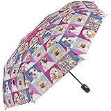 Ombrello donna cani pieghevole e leggero– Ombrello mini Perletti – Ombrello donna compatto da viaggio e borsa – Automatico – Diametro 96 cm – Stampa cani (cani)