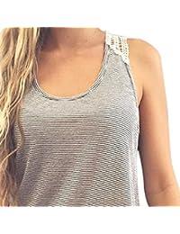Sport tank tops HARRYSTORE Mujer camisetas deportivas sueltos y elásticos Mujer camisetas sin mangas deportivos mujer chaleco de encaje Fitness para correr