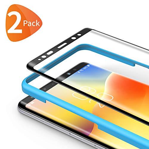 Bewahly Panzerglas Schutzfolie für Samsung Galaxy Note 9 [2 Stück], 3D Curved Full Cover Panzerglasfolie HD Bildschirmschutzfolie 9H Härte Folie mit Installation Werkzeug für Samsung Note 9 - Schwarz