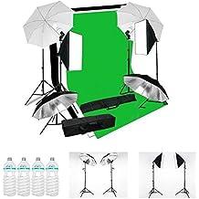 MVpower Kit iluminación continua fotografía 4x luces Paraguas Softbox 135W Lámparas Soporte 3pcs 2*1.6m Fondos (negro, blanco y verde) estudio fotográfico
