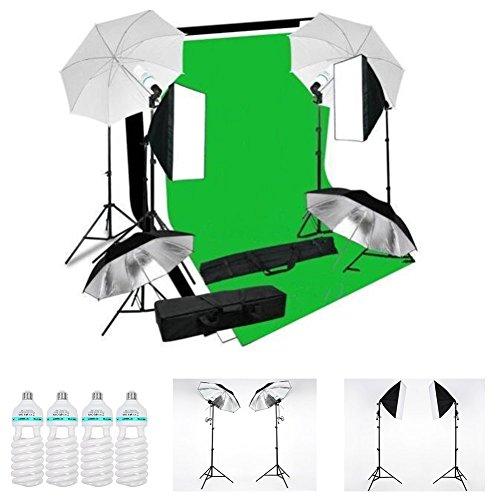 MVPOWER Kit Iluminación Continua para Fotografía con 3 x Fondos (Negro, Blanco y Verde)+2 x...