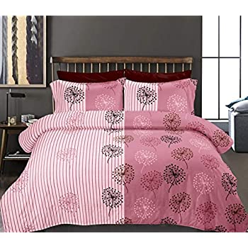 haus & kinder Two in One Mirage, 100% Cotton Double Bedsheet with 2 Pillow Covers, 186 Thread Count (Pink)