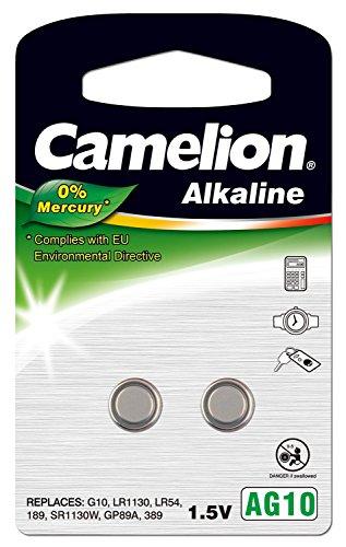 Camelion 12050210 Alkaline Knopfzellen ohne Quecksilber AG10/LR54/LR1131/389/1,5 Volt, 2er-Pack