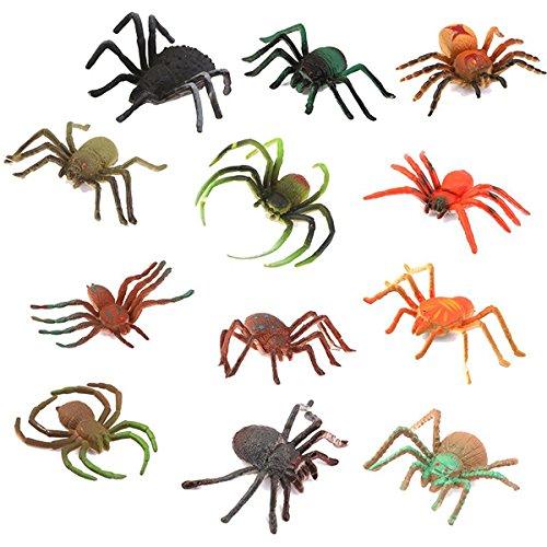 elwaren, Plastikmodell scherzt Spielzeug-Spinnen-Halloween-Partei-Bevorzugung, 12pcs ()
