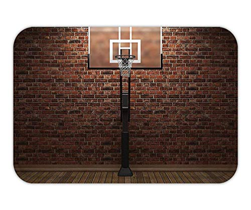 MSGDF Doormat SportDecor Old Brick and Basketball Hoop Rim Indoor Training Exercising Stadium Picture Print for Bedroom Living Room Dorm Brown Color.jpg15.7X23.6 Inches/40X60cm