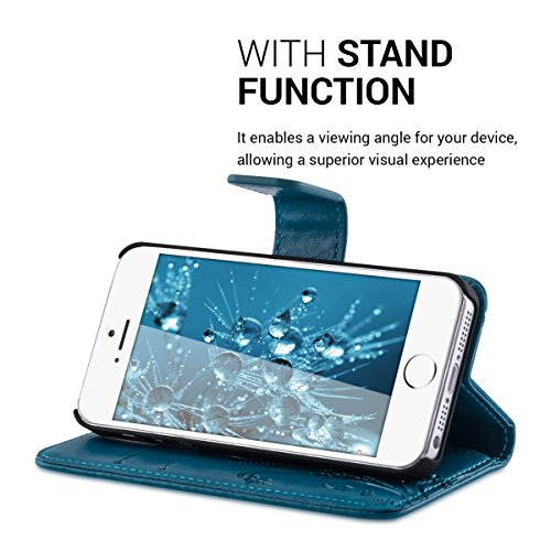 kwmobile Wallet Case Hülle für Apple iPhone SE / 5 / 5S - Cover Flip Tasche mit Kartenfach in Schwarz Ranken Schmetterling Dunkelblau