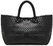 Women Handbag Bag Leather Shoulder Bag Woven Large Purse Handle Tote Bag