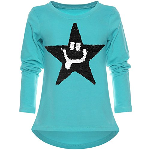 BEZLIT Mädchen Wende-Pailletten Shirt Süßem Motiv 21897 Grün Größe 116